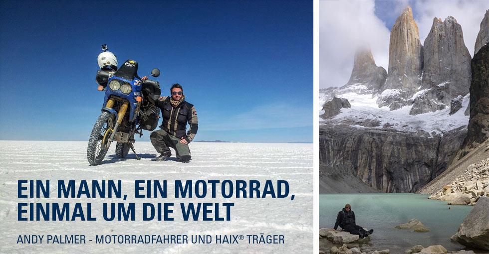 Andy Palmer auf seiner Motorradtour um die Welt